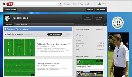 YouTube Channel mit vilen Fussball-Training Videos
