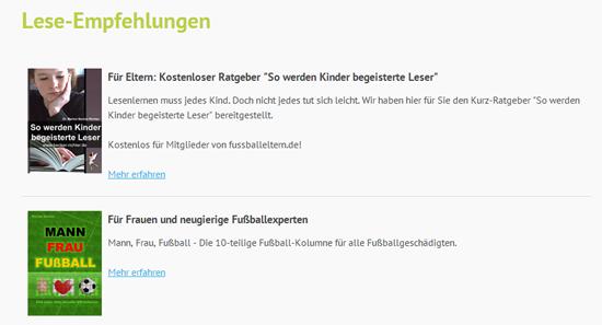 Leseempfehlungen auf fussballeltern.de
