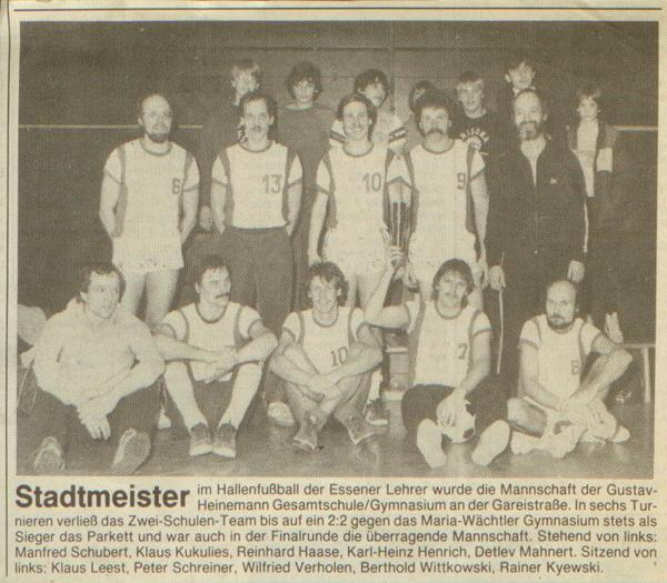 Zeitungsauschnitt: Gustav-Heinemann-Gesamtschule Fußball Stadtmeister