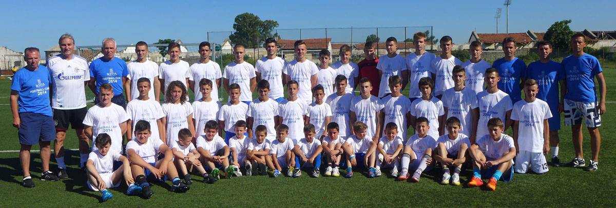 Peter Schreiner and the other coaches and the players at the soccer camp in Albania