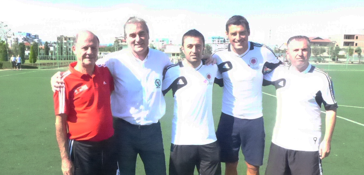 Astrit Maci (Coaching Education Director Albania), Klodian Duro(National player Albania Ex-Profi), Erion Bogdani (National player Albania Ex-Profi Serie A - best striker albanian National Team, Gazmend Haliti National Coach Kosovo U15)
